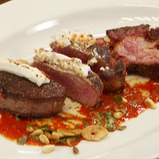 Black Pepper Crusted Filet Mignon with Goat Cheese and Roasted Red Pepper-Ancho Salsa