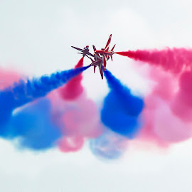 B Arrows 3 by Kelly Murdoch - Transportation Airplanes ( red arrows, uk, white, ztam, flight, flying, england, reds, red, blue, royal air force, bouremouth air show, raf, jet, air show )
