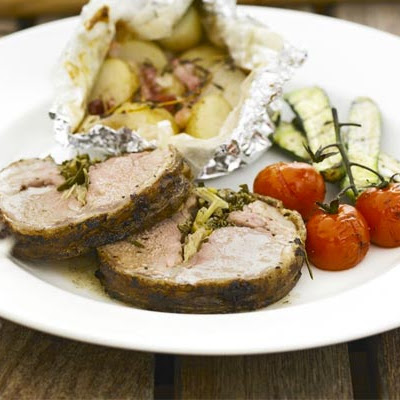 Barbecued Saddle Of Lamb With Lemon & Rosemary