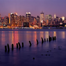 RiverView by Susan Cotti - City,  Street & Park  Skylines ( skyline, manhattan, night, new york, high quality, in focus, hudson river )