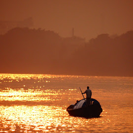 Into the Dusk by Saumy Nagayach - Novices Only Objects & Still Life ( sunset, kolkata, boat, dusk, river,  )
