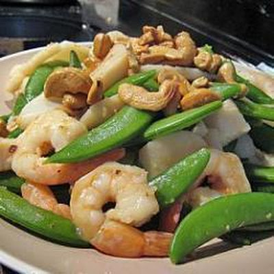 Seafood Medley with Sugar Snap Peas