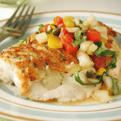 Potato-and-Herb Crusted Snapper with Yellow Pepper Salsa