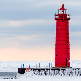 Lighthouse by Calvin Morgan - Buildings & Architecture Public & Historical ( lake michigan, winter, lighthouse, pere marquette, nikon d7000 )