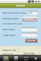 Screenshot of Quilting Calculators