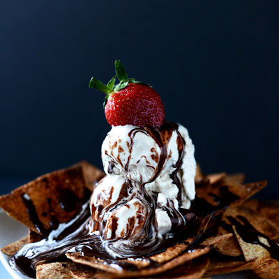 Vegan Dessert Nachos with Coffee Ice Cream
