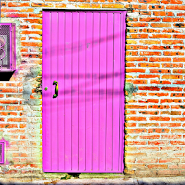 Pink Door by Freddie Meagher - Buildings & Architecture Architectural Detail ( building, san miguel de allende, mexico, door, pink, guanajuato, architecture, nikon, wall )