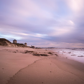 Apúlia Beach by Ricardo  Guimaraes - Landscapes Beaches ( wind, nature, sunset, empty, long exposure, ocean, quiet, beach, portugal, windmills, landscapes, , relax, tranquil, relaxing, tranquility )