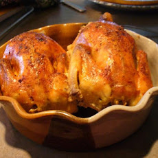 Cornish Game Hens With Garlic Cloves and Onion