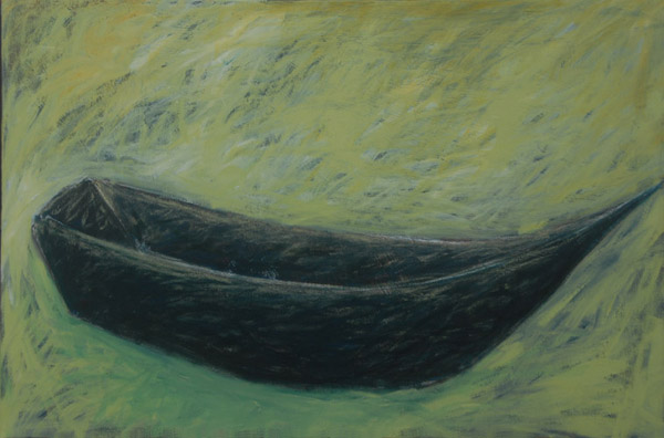 Boat with Green Water <br><br> Acrylic paint pastel. oil pastel,<br> charcoal on canvas <br><br> 24 x 36 in