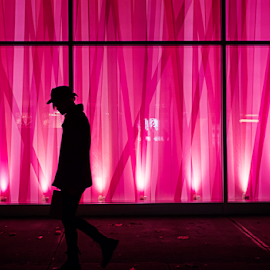 Silhouette by Nigel Bullers - People Street & Candids ( silhouette, street, pink, light, people )