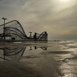 Coastal Coaster by Steven Maerz - City,  Street & Park  Amusement Parks ( #rollercoaster #ocean #beach #desaturated )