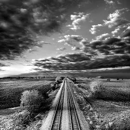 Going the Distance by Phil Koch - Black & White Landscapes ( clouds, train tracks, black and white, railroad, white, horizon, landscape, sky, railway, rail, lines, view, black, b&w )