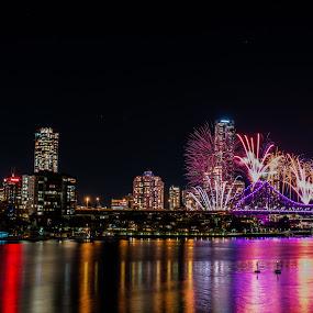 Riverfire by Ty Hanson - City,  Street & Park  Skylines ( brisbane rivierfire fireworks skylines vista finchzero photography )