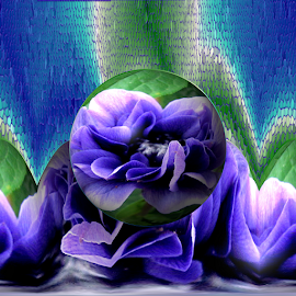 Abstract 1 by Tina Dare - Digital Art Abstract ( abstract, patterns, designs, texture, distorted, blue flower, flower, blues, curves, shapes )