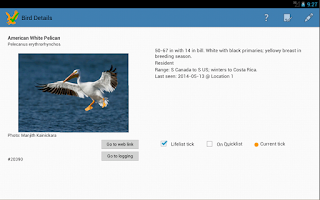 Screenshot of US Birding Checklist (demo)