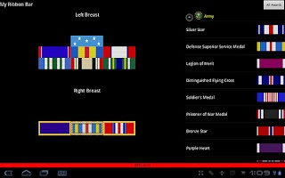 Screenshot of Military Awards