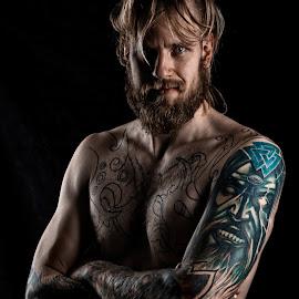 by Andraz Muljavec - People Body Art/Tattoos ( viking, portret, tattoo )