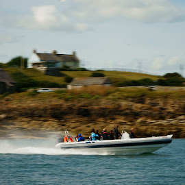 the speedboat by Joshua Malcolm  - Transportation Boats ( speedboat, anglesey, action, sunny day, trip, boat )