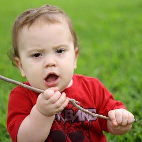 Get me off this grass. Stick? by Judy B - Babies & Children Children Candids