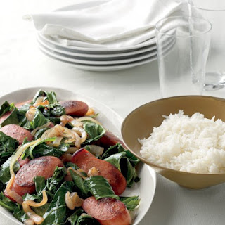 Bratwurst with Collards and Rice