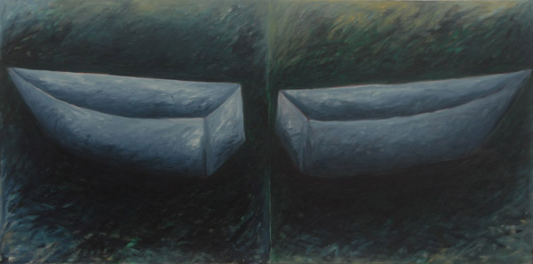 Grey Boat, diptych <br><br>  Acrylic paint, pastel on canvas <br><br> 24 x 48 in