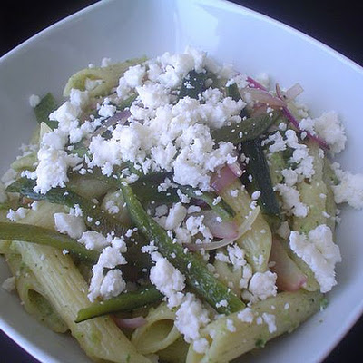 Pasta with Poblano Chilies and Red Onion