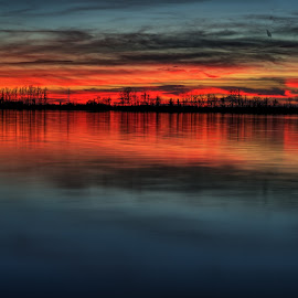Colorful Sunset by Allen Skinner - Landscapes Waterscapes ( sunset, lake )
