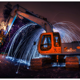 Fire Working Construction  by Urban Xploration - Abstract Light Painting ( light painting, steel wool, fire spin )