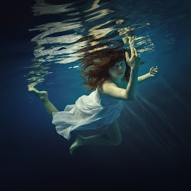Ease. by Dmitry Laudin - People Portraits of Women ( girl, underwater, dress, swim, hair )