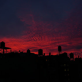 New York City Sunset by VAM Photography - City,  Street & Park  Skylines ( water towers, sunset, places, new york city, city,  )
