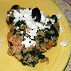 Greek Rice with Spinach, Feta and Black Olives