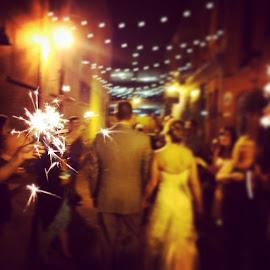 Adorable sparkler walk through! by Julie Dabour - Wedding Reception ( adorable, weddings, weddingideas, sparklers, fireworks, alleyway, easton, pennsylvania, awesome, cute, brideandgroom, weddingphotography, weddingparty )