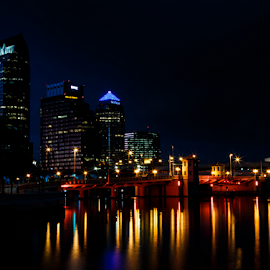 Tampa by the Bay by CA Eccles - City,  Street & Park  Night ( lights, orange, skyline, reflection, florida, parks, tampa, night, bridge, district, business, city,  )