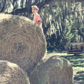 Playing in the hay by Melissa Stieber - Instagram & Mobile Instagram ( fall, festival, boy )