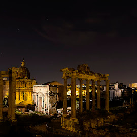 Imperial Forums by Ivano Mancino - City,  Street & Park  Historic Districts ( forums, rome, imperial, pentax, night,  )