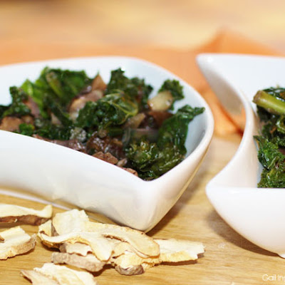 Sautéed Kale with Shitake Mushrooms & Chopped Dates
