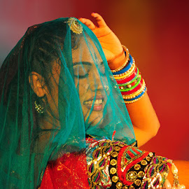 An artist performing during teej festival in pink city Jaipur by Manish Sharma - News & Events Entertainment ( fashion, artist, dancer, culture, portrait )