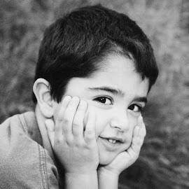 Just Wondering by Victor Sanchez - Babies & Children Children Candids ( child, day dream, sitting, black and white, boy,  )