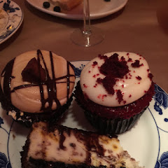 Peanut butter cupcake, red velvet cupcake and cheesecake