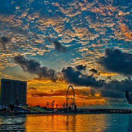 The day is breaking - Marina Bay.Singapore. by John Chung - Landscapes Travel