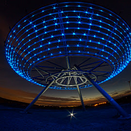 Halo @ night by Simon Pickles - Buildings & Architecture Statues & Monuments ( samyang, installation, canon, fisheye, 7d, lancashire, panopticon, blue, neon, halo, haslingden )