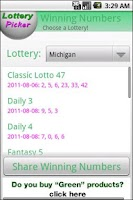 Screenshot of Lottery Picker