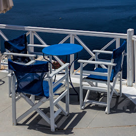 nice place for a drink by Vibeke Friis - Artistic Objects Furniture ( terrace, blue chairs, Chair, Chairs, Sitting )