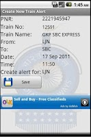 Screenshot of Indian Railway Train Alarm