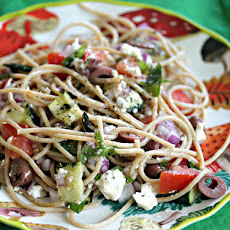 Whole-Wheat Spaghetti Salad With Grilled Zucchini, Kalamata Olives, and Feta