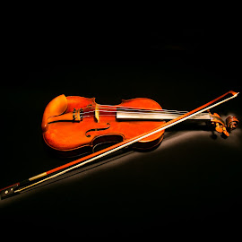 Violin by Cary Chu - Artistic Objects Musical Instruments ( black background, light painting, violin,  )