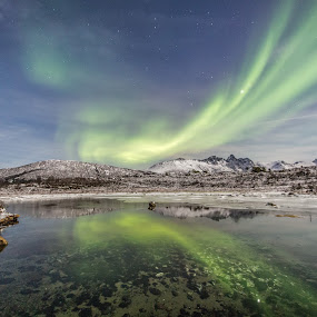 Aurora twin by Benny Høynes - Landscapes Starscapes ( water, mountains, cold, northernlights, snow, aurora, pond, norway )