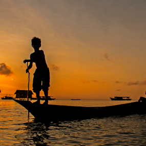 Too Early by Pak Lang - Transportation Boats ( water, summer, malaysia, sunrise, boat, sabah, silhouette,  )