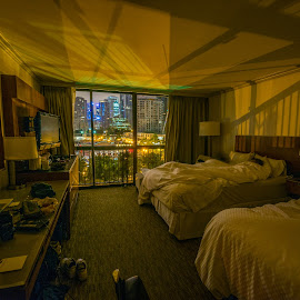 Goodnight Vancouver by Joel Provost - Buildings & Architecture Other Interior ( interior, westin bayshore, exterior, bed, coal harbour, street scene, sleep, vancouver, urban, hotel room, city lights, night, view )
